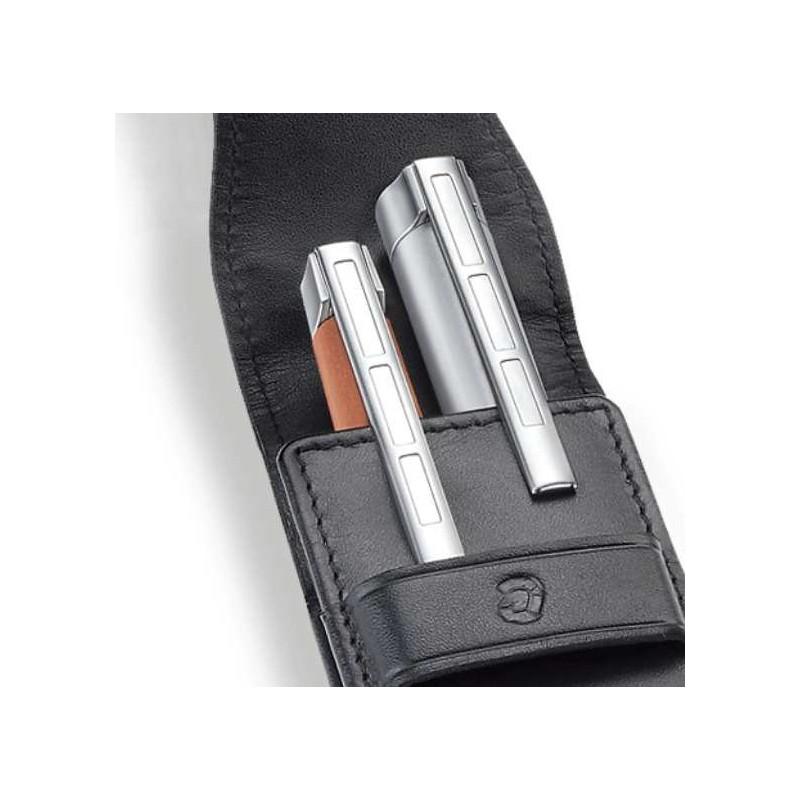 Etui stylos cuir staedtler double noir sur stylos en ligne - Tache stylo sur cuir ...