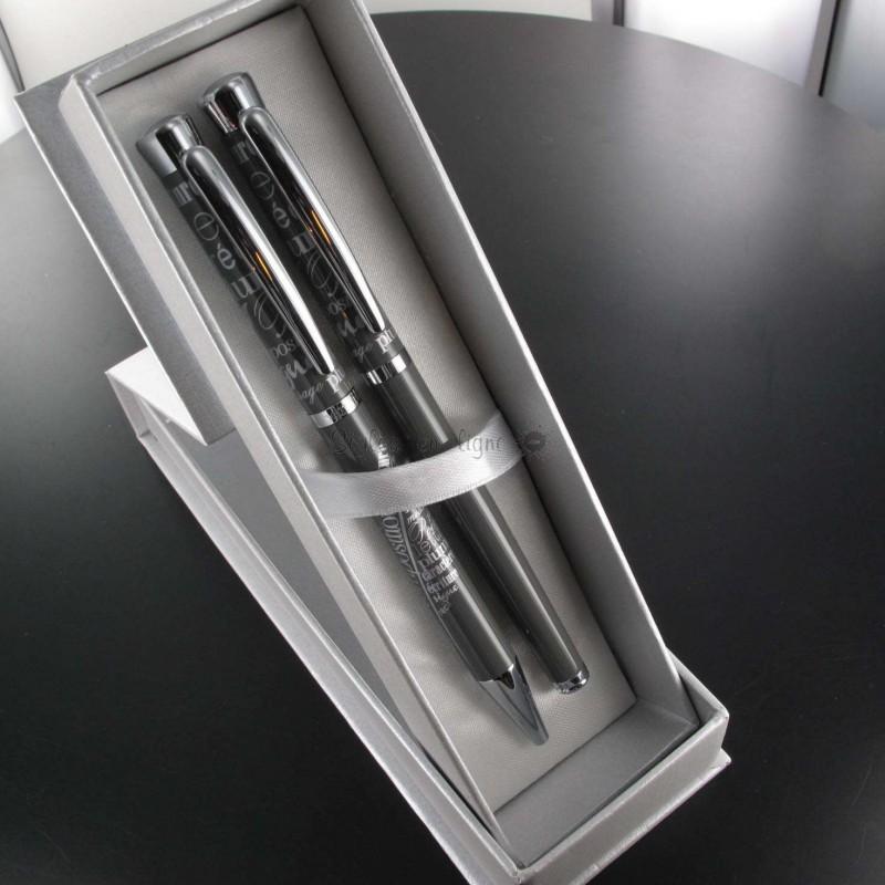 parure stylos plume bille oberthur agathe gris sur stylos en ligne. Black Bedroom Furniture Sets. Home Design Ideas