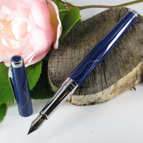 """Stylo Plume Oberthur® """"Astrée"""" Laqué Bleu Brillant"""