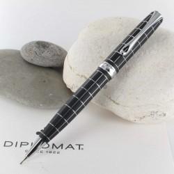 Stylo Portemine 0,7 mm Diplomat® Excellence A+ Rhomb Guilloché Lapis Noir Chrome