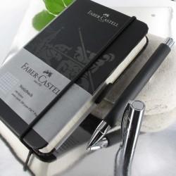 """Coffret cadeau Stylo Roller Faber Castell® """"Ambition"""" Résine Précieuse Noire + Carnet"""