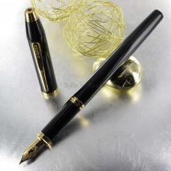 Stylo Plume Fine Cross® Century II Précieux Laque Noire & Or 23 carats