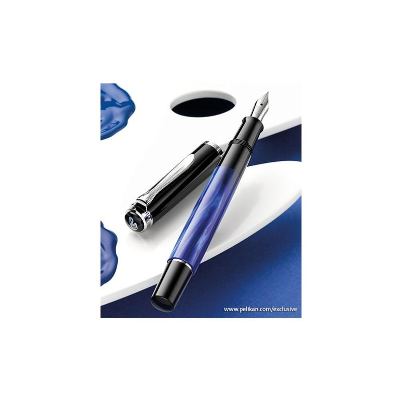 stylo plume fine p likan classic m205 bleu marbr sur. Black Bedroom Furniture Sets. Home Design Ideas