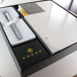 Coffret Stylo Roller Cross® Classic Century Chrome + Carnet A5 Blanc Cross®