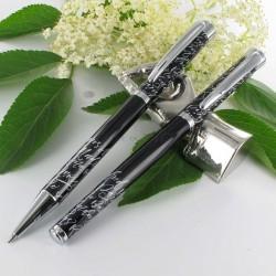 """Parure stylos Plume & Bille Oberthur® """"Syllabe"""" Noir"""