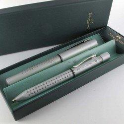 Coffret stylos Plume + Bille Faber Castell® GRIP Argent Mat