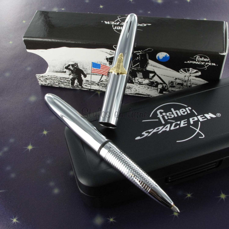 Stylo Bille Pocket Fisher Space Pen® Chromé avec Navette Spatiale