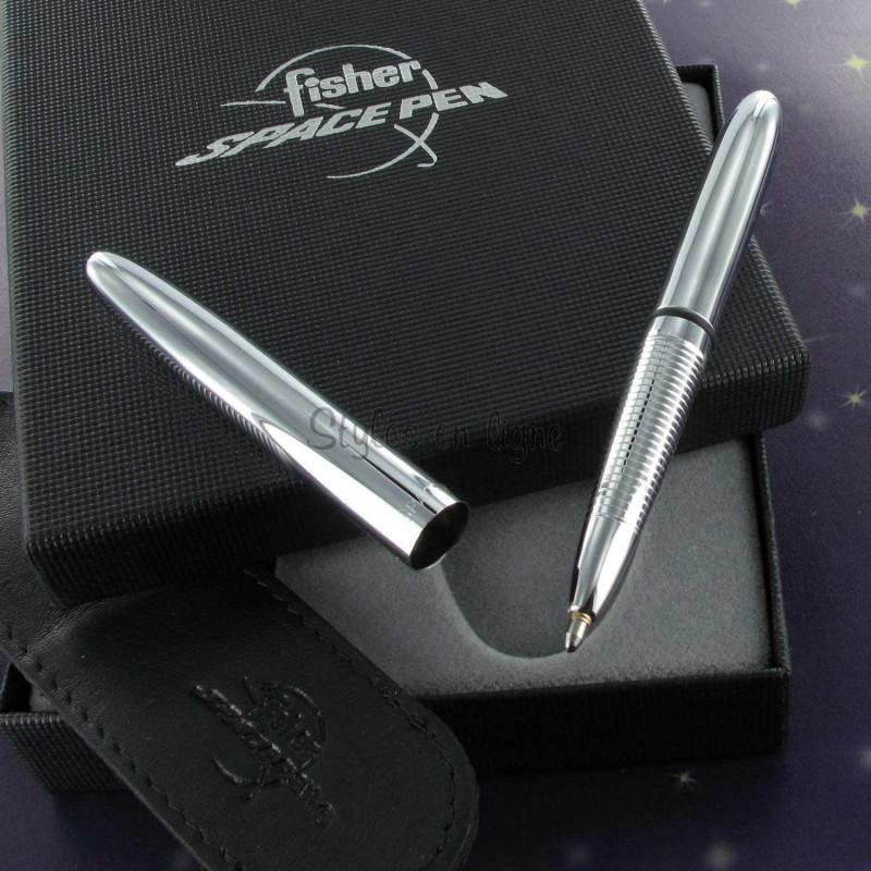 Coffret Stylo Bille Pocket Fisher Pen® Chromé + Etui Noir