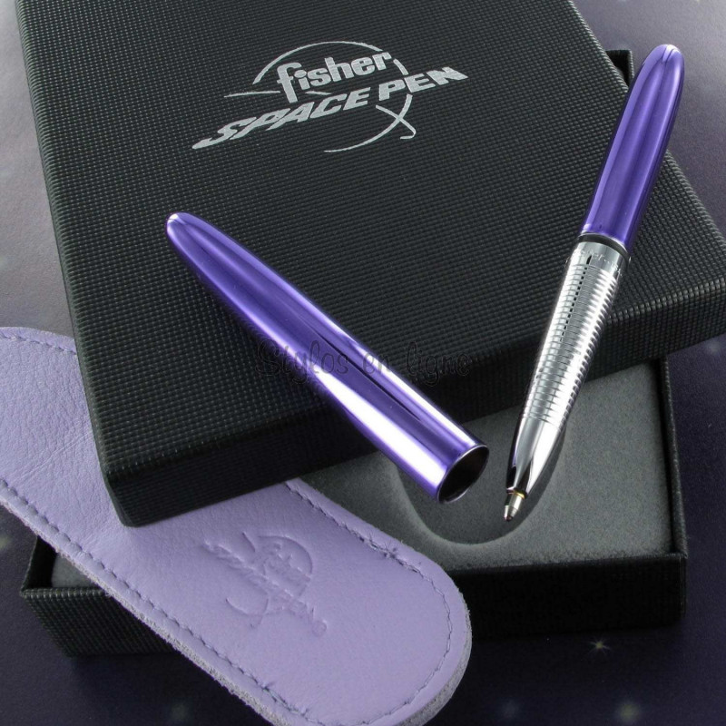 Coffret Stylo Bille Pocket Fisher Pen® Chromé Mauve + Etui mauve