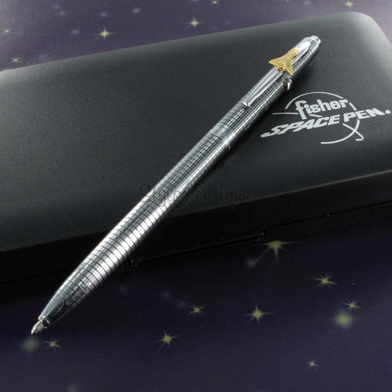 Stylo Bille Fisher Space Pen® Space 1 - Chromé Quadrillé avec Navette -