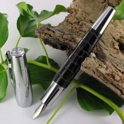 """Stylo Plume Moyenne Faber Castell® """"e-motion"""" Résine Précieuse Croco Noir"""