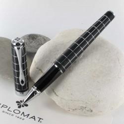 Stylo Roller Diplomat® Excellence A+ Rhomb Guilloché Lapis Noir Chrome