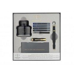"""Coffret Stylo Plume Parker® """"IM"""" Noir GT + encrier + cartouches d'encre + Convertisseur"""