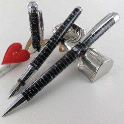 """Parure stylos Plume & Bille Oberthur® """"Idylle"""" Noir"""