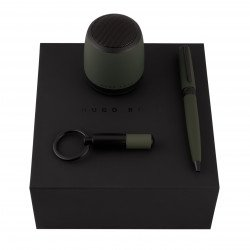 Coffret Stylo Bille Hugo Boss® Gear MATRIX® Kaki + enceinte connectée + porte-clefs