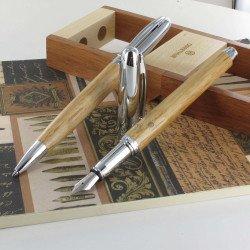 """Parure Plume & Bille Oberthur® """"Séquoia"""" Bois de Chêne"""