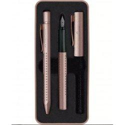Coffret stylos Plume + Bille Faber Castell® GRIP Cuivré Rosé