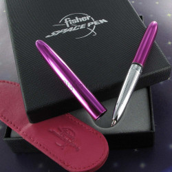Coffret Stylo Bille Pocket Fisher Pen® Chromé Fushia + Etui fushia